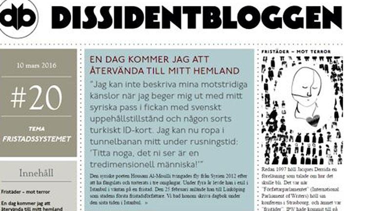 Dissidentbloggen. Foto: Skärmdump.