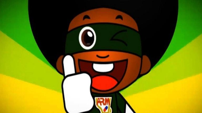 Zambias nya superhjälte, Antiretroviral Man, har stort huvud, afro och mörkgrön superhjältedräkt.