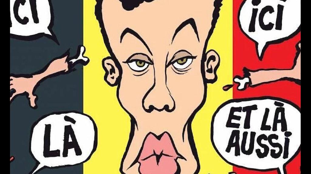 Beskuren bild av omslaget till senaste numret av Charlie Hebdo.