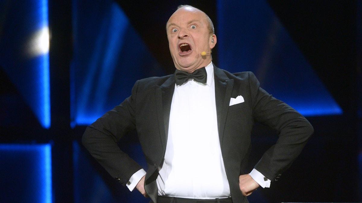 Jonas Gardell i mellanakten på Melodifestivalens 2016.