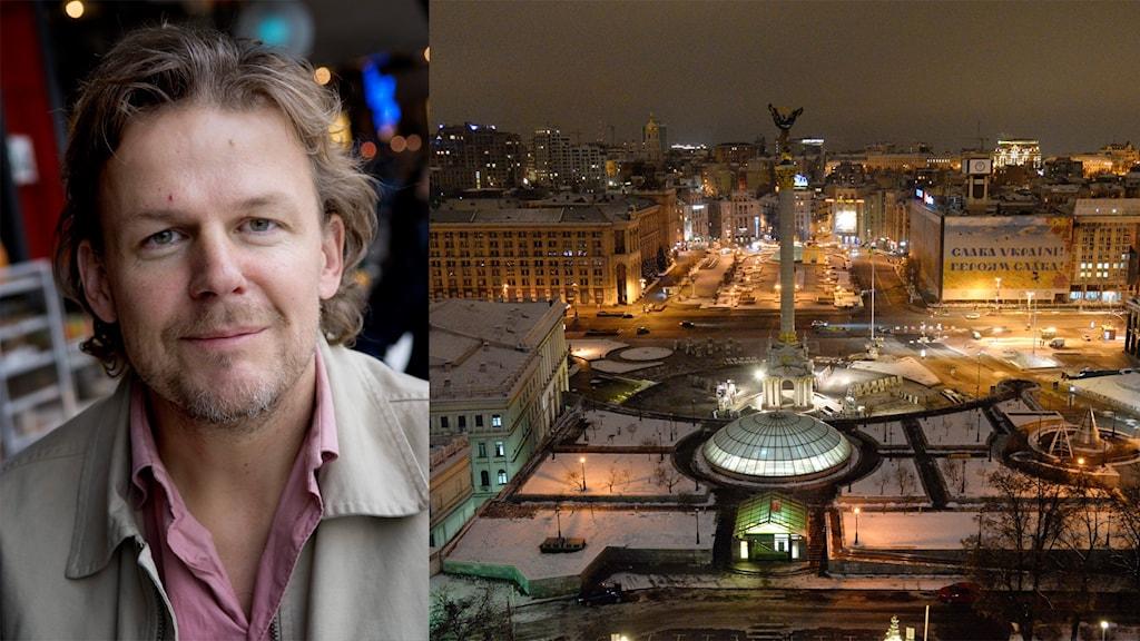 Axel Arnö, projektledare SVT. Majdantorget i Kiev, Ukraina.