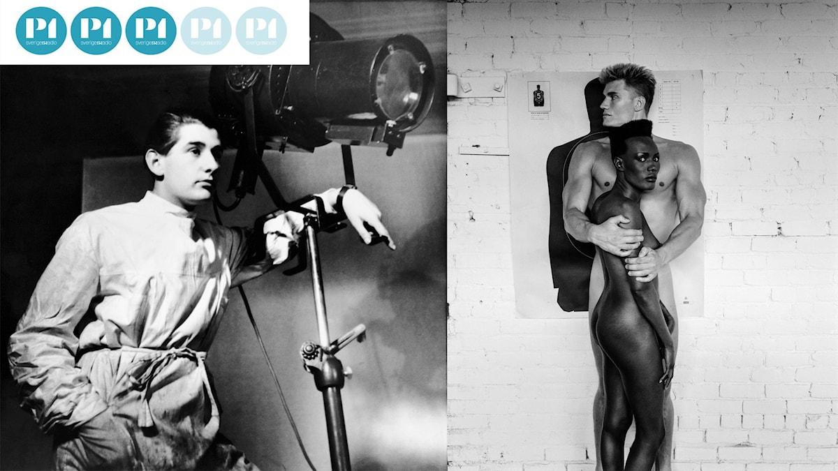 Helmut Newton självporträtt och Grace Jones och Dolph Lundgren