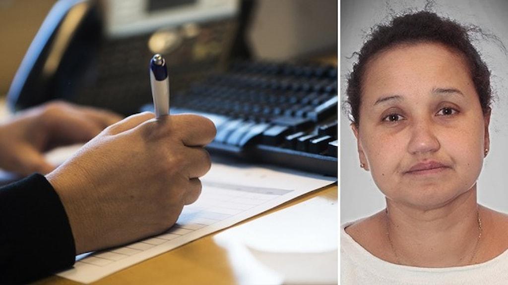 En hand som skriver med en penna framför ett tangentbord och infällt ett porträtt av översättaren Ida Gure.