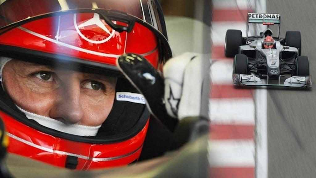 Racerföraren Michael Schumacher i röd hjälm gör tummen upp och en bil på en formel 1-bana.