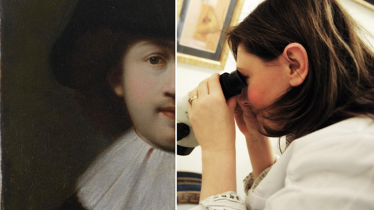 Del av självporträtt som kan vara målat av Rembrandt och Anna Bronzoni Catellani.