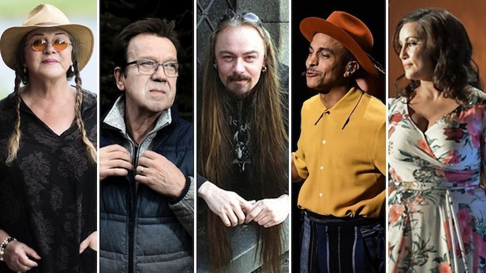 Porträtt av Py Bäckman, Björn Skifs, Bathory, Timbuktu och Lisa Nilsson väljs in i Swedish music hall of fame.