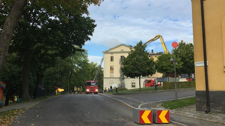 Konsthögskolans byggnad där det brann