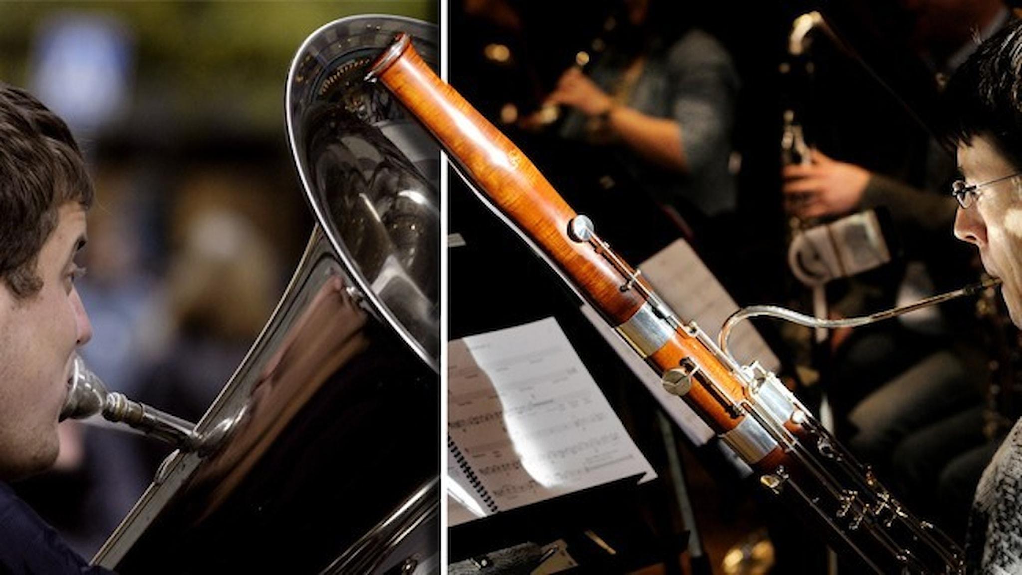 En person som spelar tuba och en person som spelar fagott.