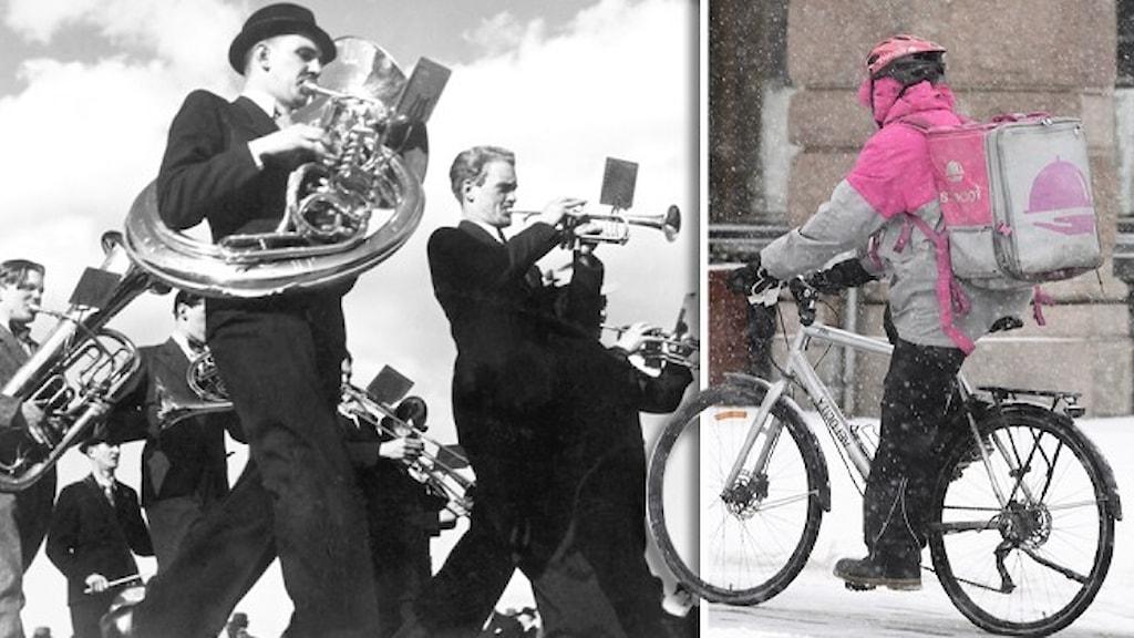 En svartvit bild av en marschorkester och en nutida bild av en cyklist i rosa som kör för företaget Foodora.