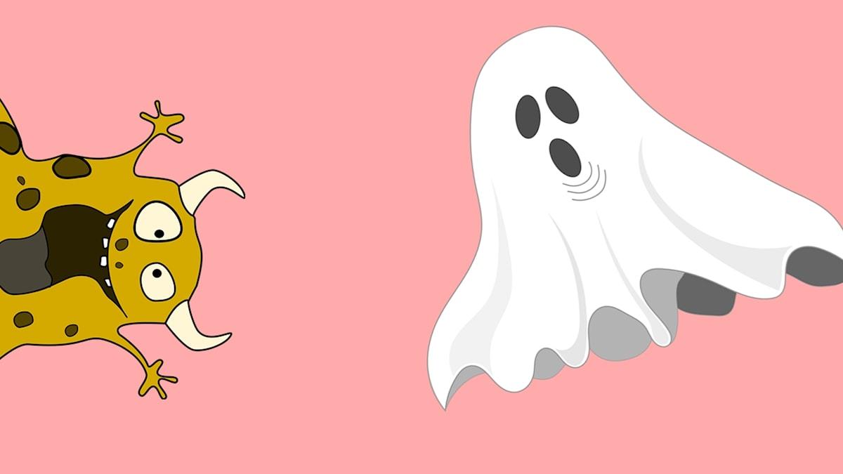 Ett monster och ett spöke.