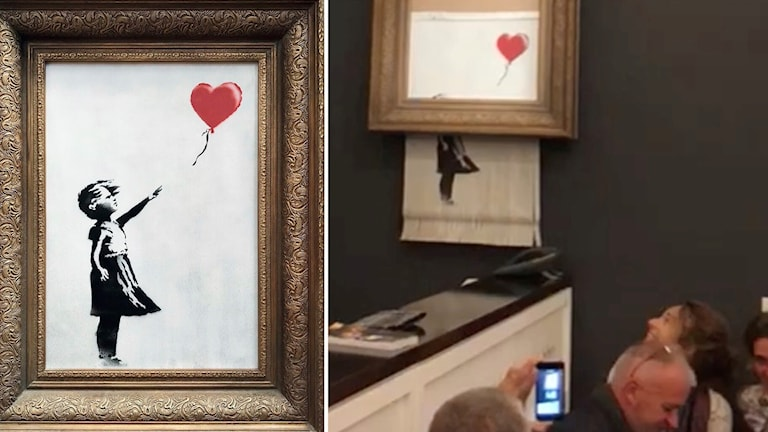 "Banksys konstverk ""Girl with balloon""."