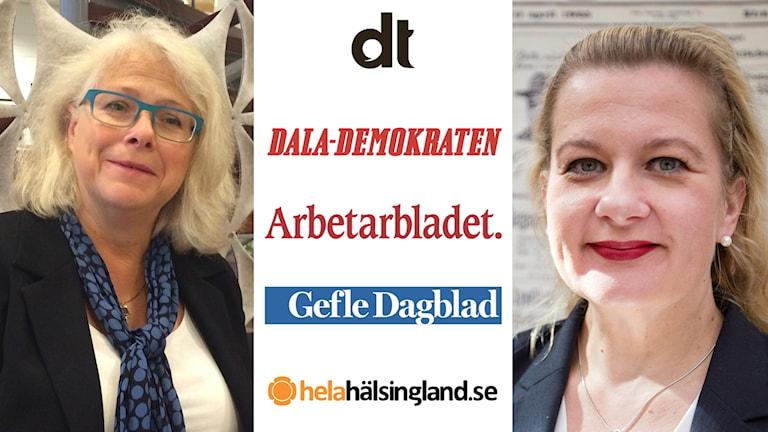 Medieforskaren Elisabeth Stúr (t v) och Anna Gullberg, chefredaktör på Gefle Dagblad som ingår i tjänsten Sveriges lokalnyheter.