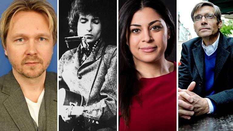 DN:s Björn Wiman (t.v.) och Sydsvenskans Per Svensson (t.h.) diskuterar Nobelpristagaren Bob Dylan med P1 Kulturs Mona Masri.