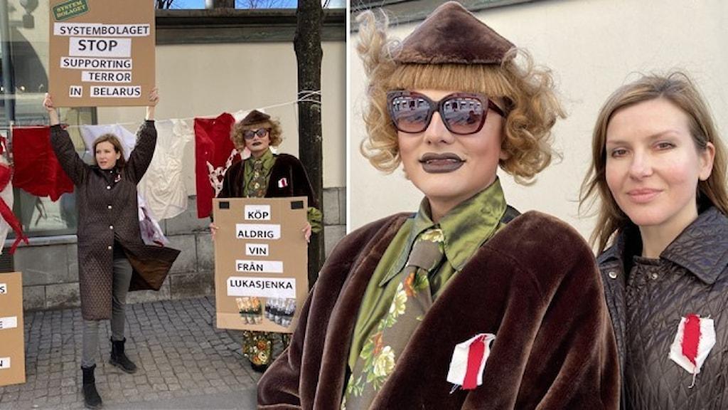 Porträtt av Edvard Tarletski (utklädd till Madame Zhu Zhu) och Ludmila Christeseva  som protesterar mot Systembolaget.