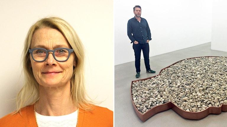 Eva Månsson, verksamhetsledare på Konstnärernas Riksorganisation, och Ben Loveless på Galerie Nordenhake.