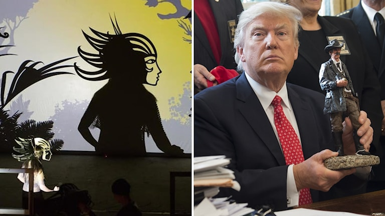 """Skuggteatergruppen """"Feathers of fire"""", president Donald Trump"""