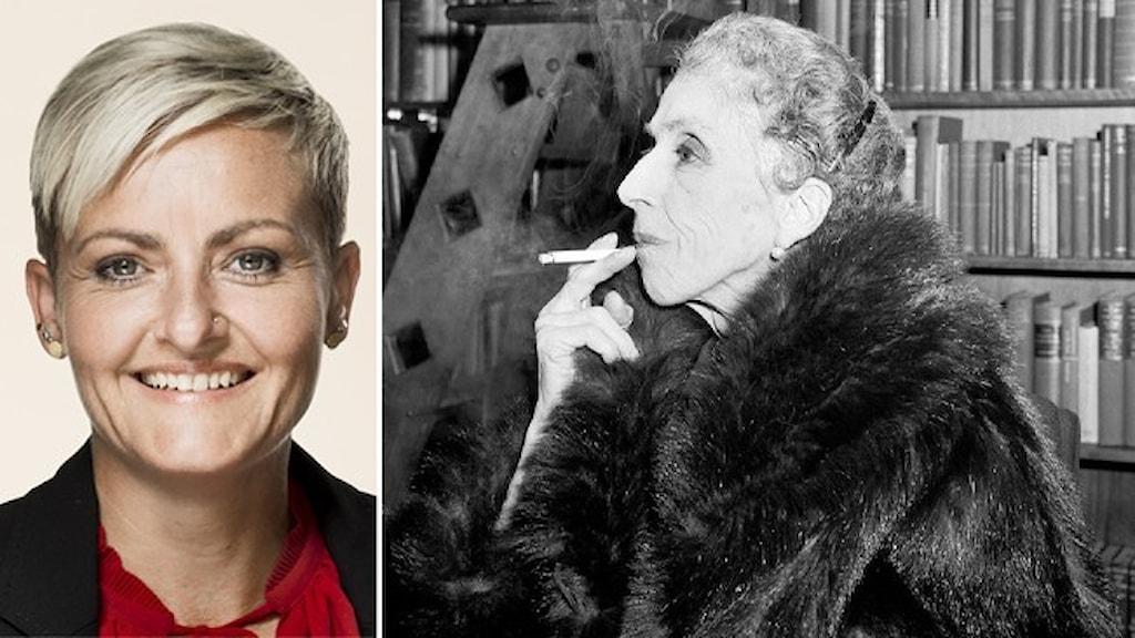 Porträtt av Pernille Rosenkrantz-Theil (S) och ett svartvitt porträtt av författaren Karen Blixen.