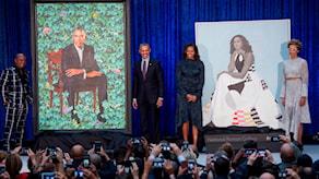 Porträtten på presidentparet Obama visades upp för första gången.