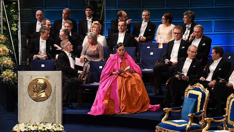 Sara Danius vid Nobelprisutdelningen.