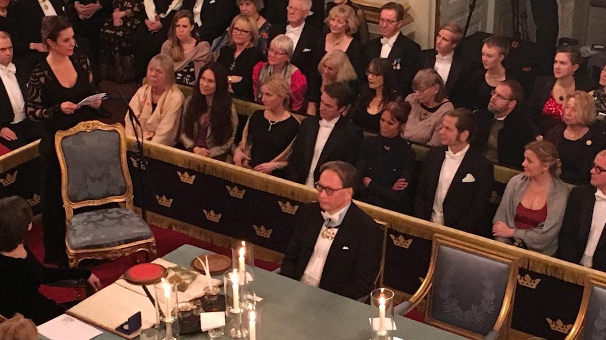 Sara Stridsberg inträdestalar i Svenska Akademien. Foto: Karsten Thurfjell/SR