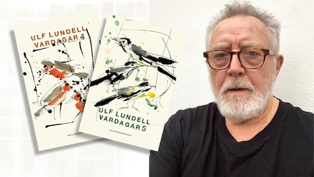 Porträtt av författaren och artisten Ulf Lundell, klädd i mörk t-shirt. Infällt i bilden är omslagen till hans två senaste böcker: Vardagar 4 och 5.