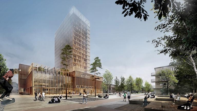 Illustration över Skellefteås nya kulturhus.