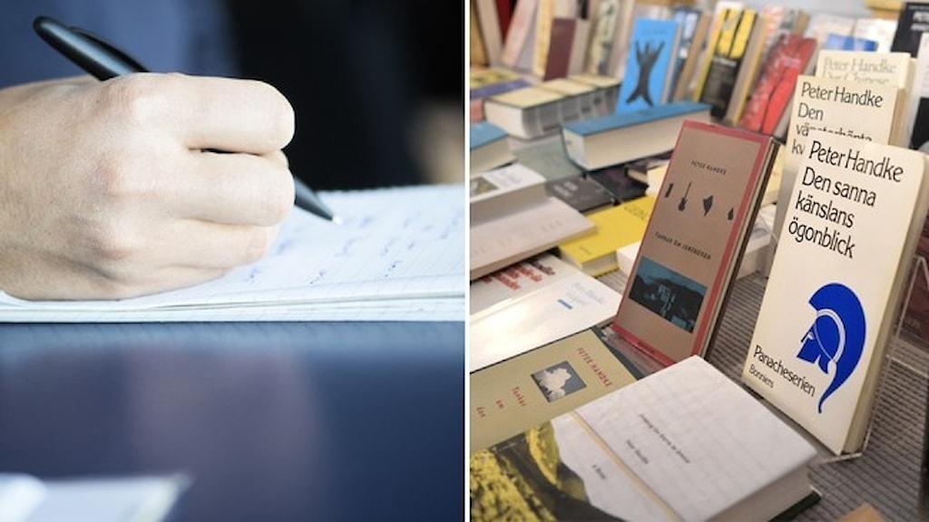 En hand som skriver på ett anteckningsblock och ett bokbord.