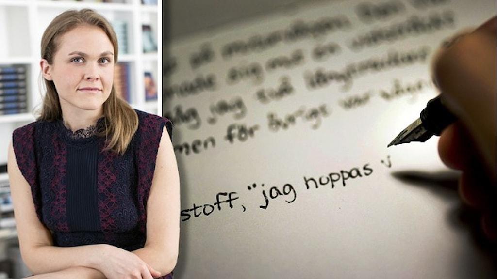 Julia Angelin, vd på Salomonsson Agency infälld på en bild där en person skriver för hand på ett papper.