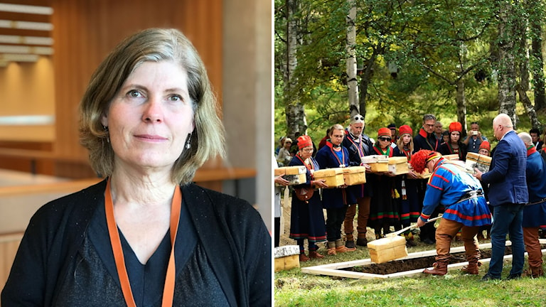 Ingela Chef Holmberg på Riksantikvarieämbtetet och återbegravningen av samiska kvarlevor i Lycksele 2019.