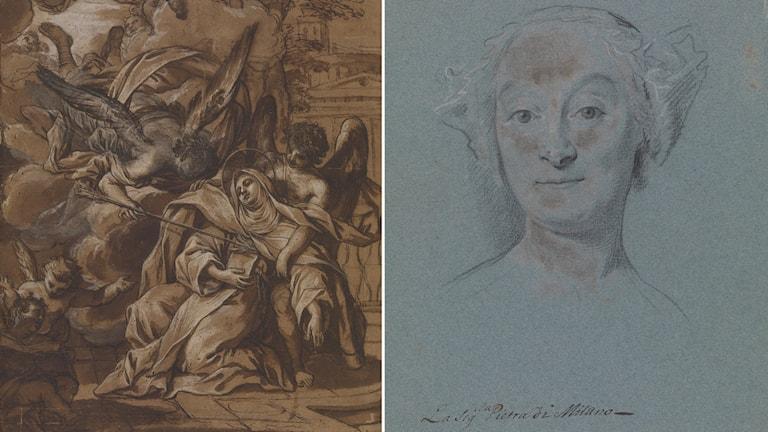 "Antonio Nasini ""Den hellige Theresas henrykkelse"", 1641-1715  och La sig'la Pietra di Milano, 1700-tal."