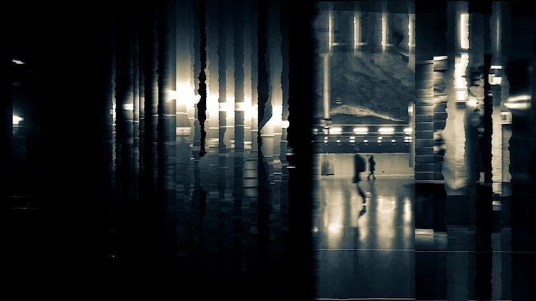 Serinyas glitch-art-bild. Med hjälp av mobilkamerans panoramafunktion tar han bilder i Stockholms tunnelbana.
