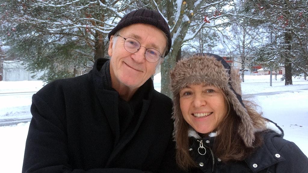 Filmarna Tom Alandh och Heleen Rebel. Foto: Peter Öberg, Sveriges Radio.