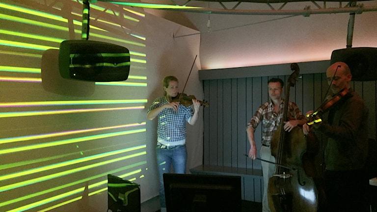 """Violinisten Ruth May, kontrabasisten Andrew Krell och violinisten Mark Matthes i projektet """"The well-tempered brain"""". Foto: Berit Nygren/SR."""