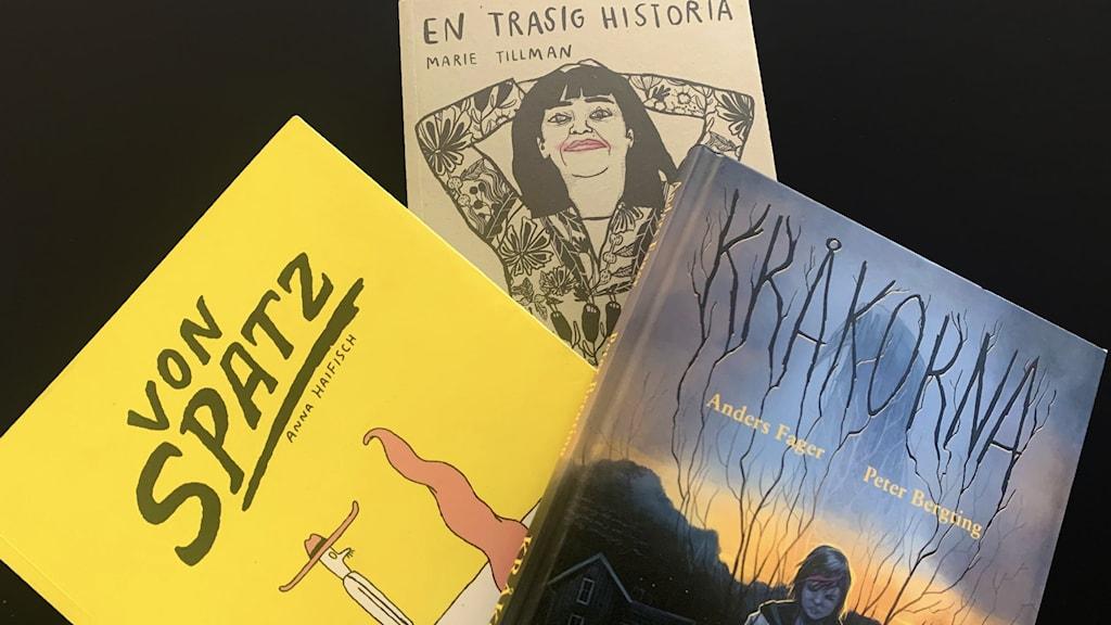 Seriealbumen Von Spatz av Anna Haifish. En trasig historia av Marie Tillman. Kråkorna av Anders Fager och Peter Bergting