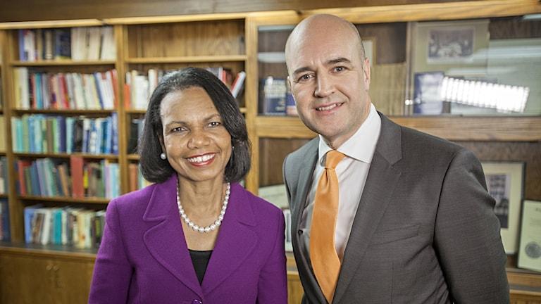"""""""Toppmötet"""" med Fredrik Reinfeldt. Här med Condoleezza Rice, som var USA:s utrikesminister 2005 till 2009."""
