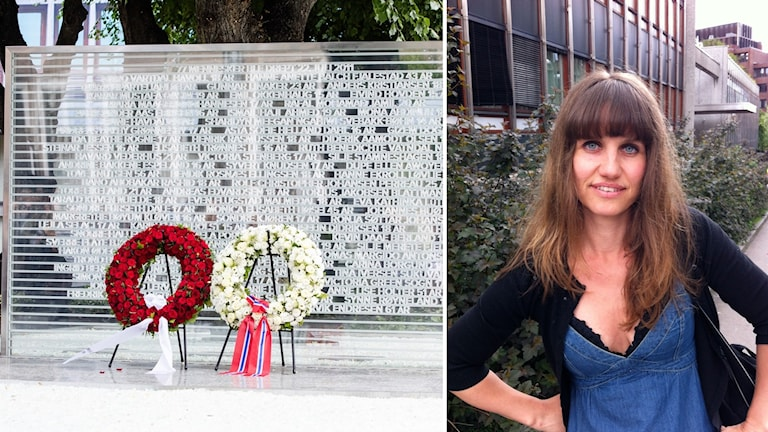 Det tillfälliga minnesmärket och konstkritikern Mona Pahle Bjerke.