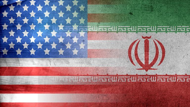 USA och Irans flagga.