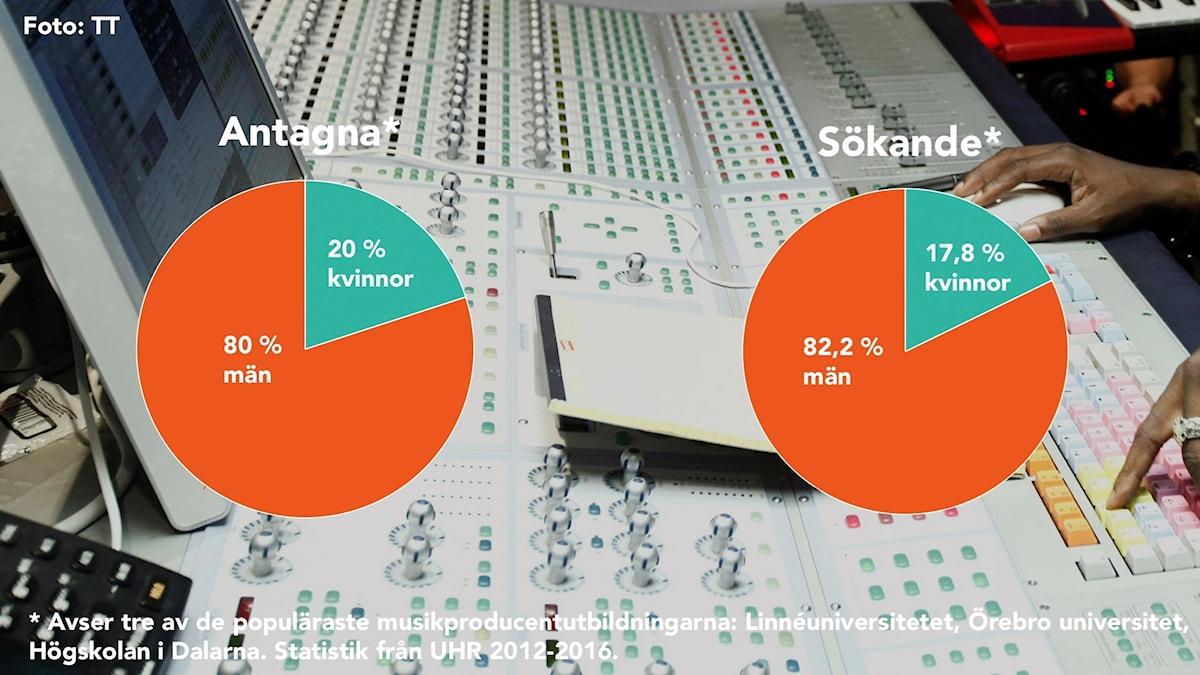 En sammanställning som Kulturnytt har gjort av antagningsstatistik från tre av landets populäraste musikproducentutbildningar visar att i sn