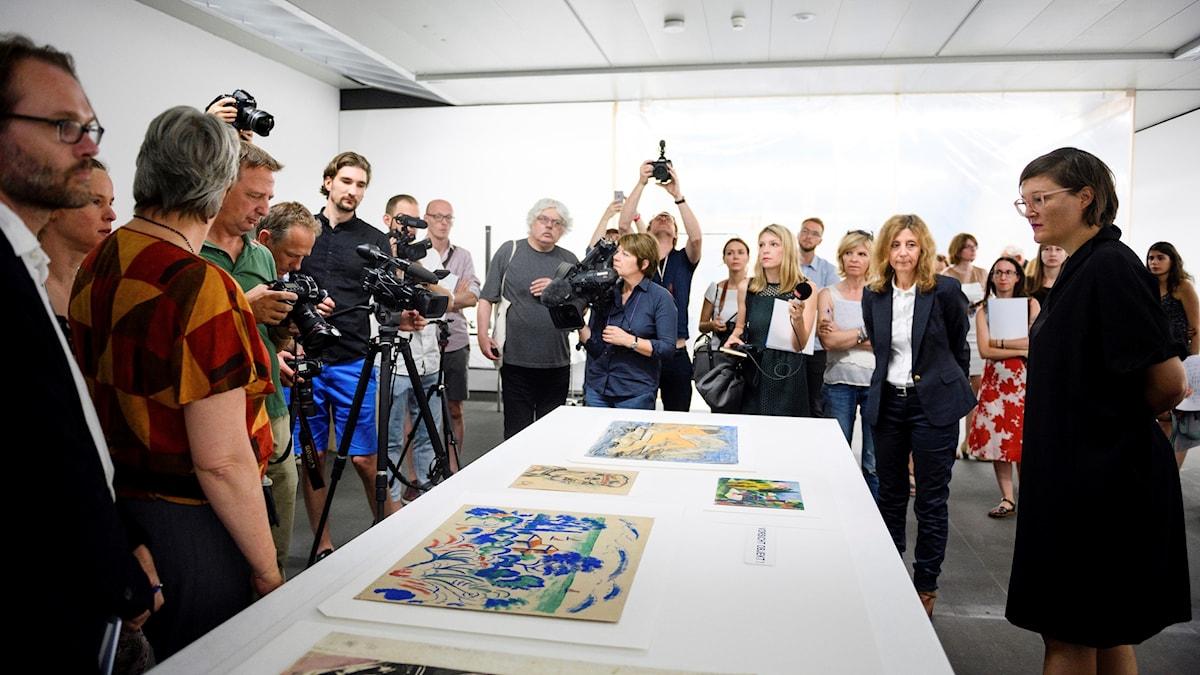 Cornelius Gurlitts konst visas för pressen.