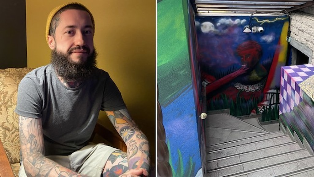 Barägaren Gleb Kovaljov sitter i en fåtölj, tatueringar på armarna och med skägg. Intill en bild av en brant trappa med en målning på vägen som leder ner till hans bar.