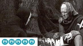 Bergmanpodden betygsätter Bergman. Bild ur filmen Det sjunde inseglet från 1957. Foto: Louis Huch/AB Svensk filmindustri