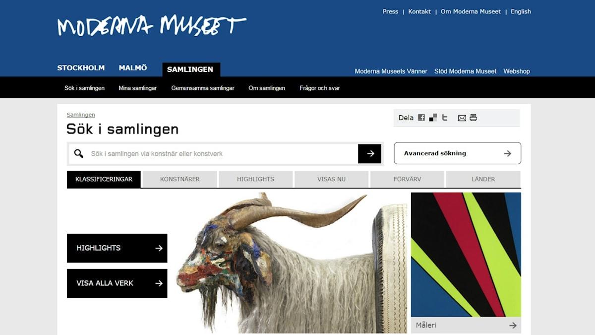 Moderna Museets digitaliserade samling.