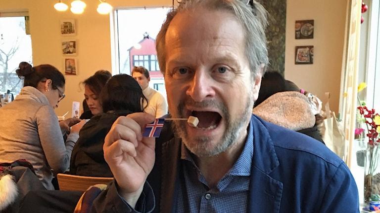 Kulturredaktionens Karsten Thurfjell testar den tarditionella isländska surhajen.