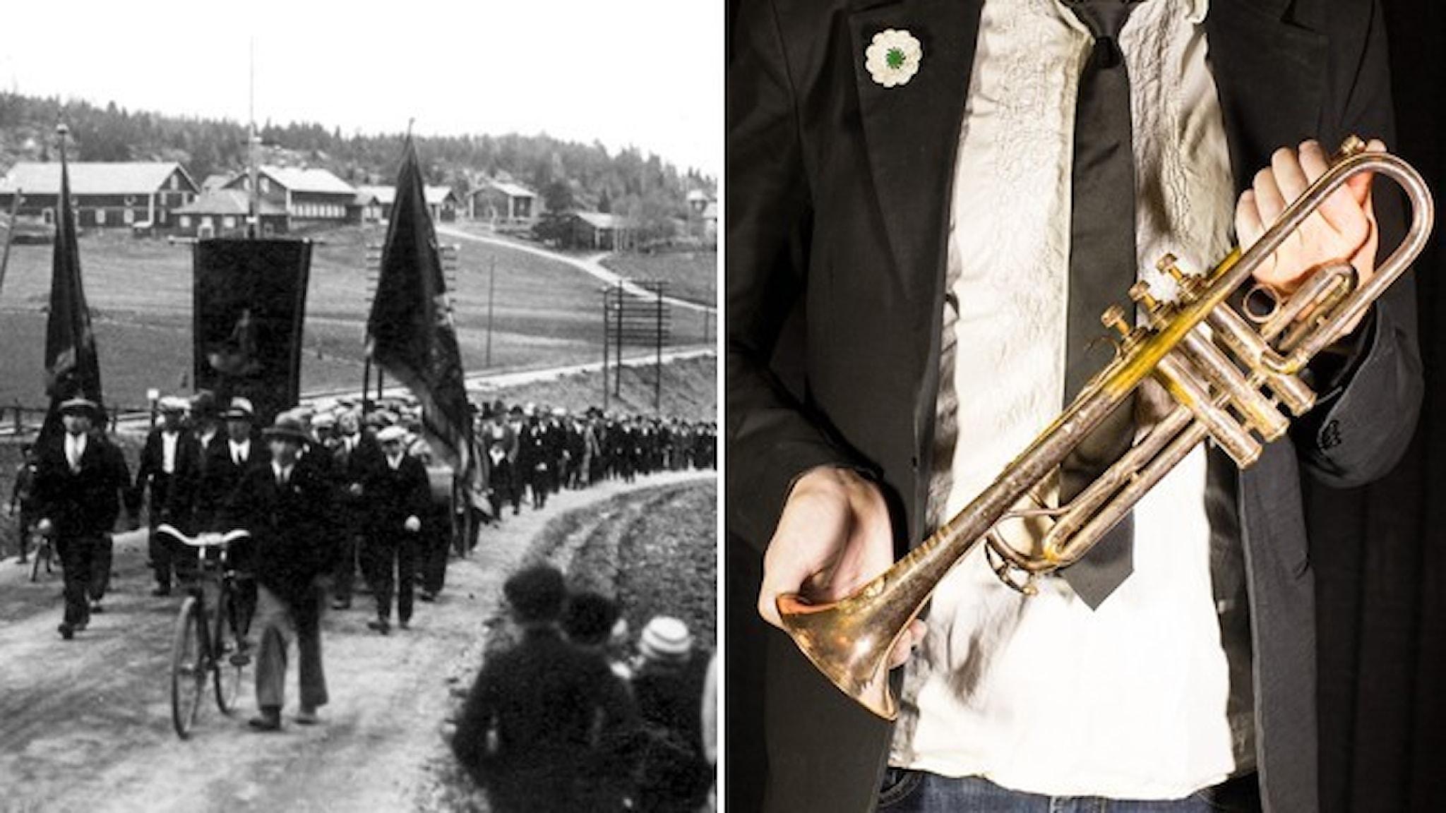 Svartvit bild av demonstrationståget i Ådalen 1931 och en nutida bild av trumpeten som blåste eldupphör.
