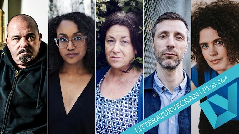 Nominerade lyrikpriset 2020. Johan Jönson, Judith Kiros, Ann Jäderlund, David Vikgen, Naima Chahboun.