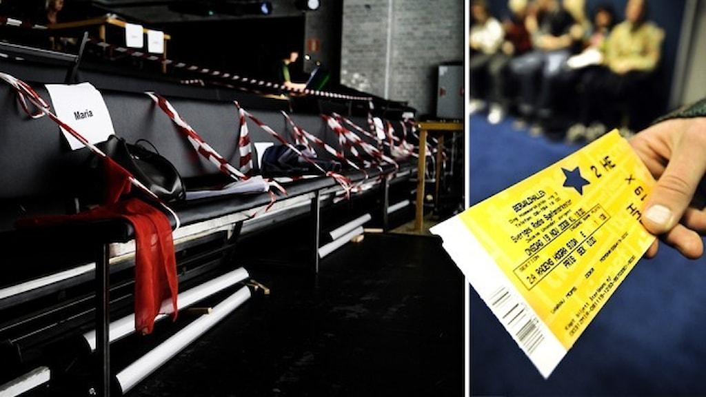 Avspärrade platser på en teater och en hand som håller i en biljett.