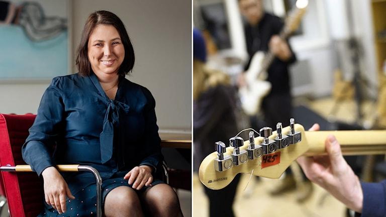 Malin Ekman Aldén, chef för Myndigheten för delaktighet, sitter i en stol iklädd blå kjol och blå blus i mörkt hår i page och bilden till höger visar en del av en gitarr.