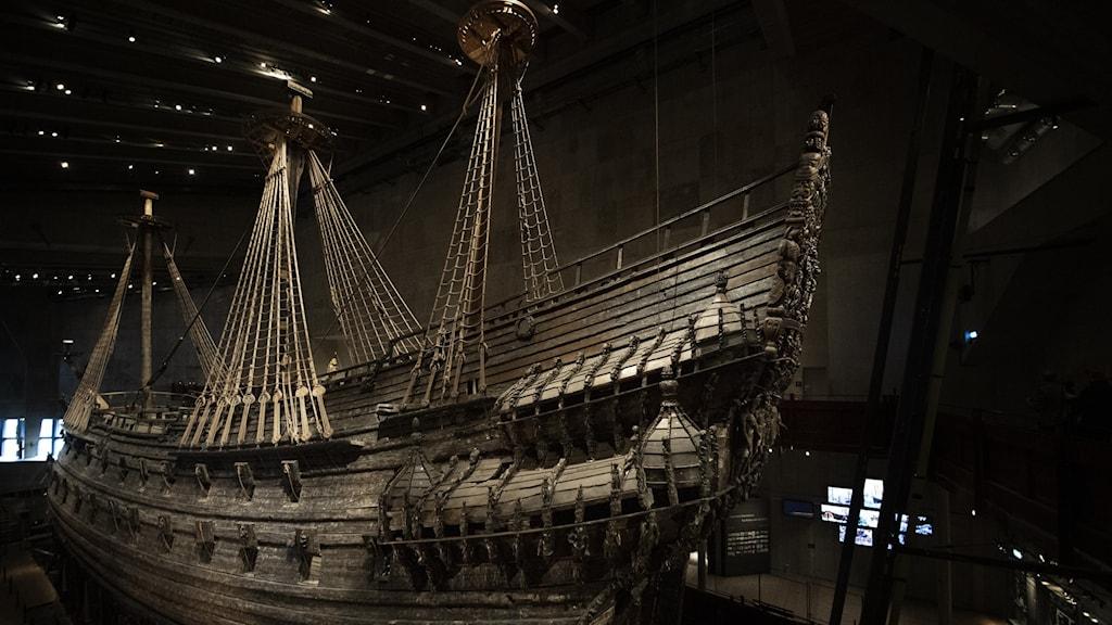Bild på Vasaskeppet, på Vasamuseet i Stockholm