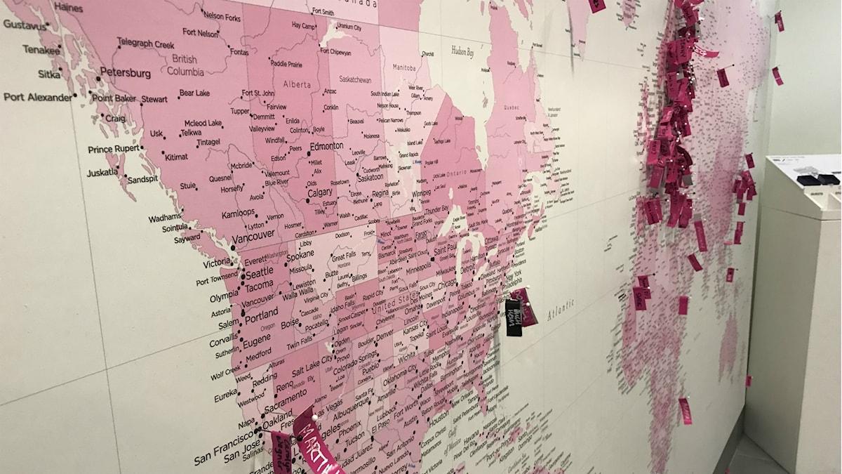 En karta med nålar där studenterna på Umeå Designhögskola kommer ifrån.