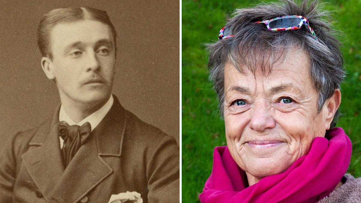 Äldre fotografi av man i kostym  samt kvinna med schal och glasögon uppe på huvudet